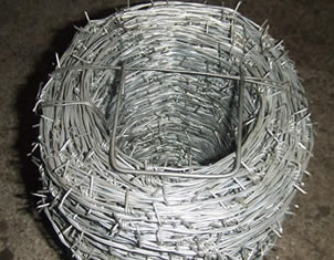 A roll of barbed wire