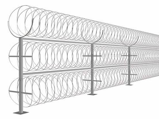 install razor wire mesh on the ground  assembly and picture